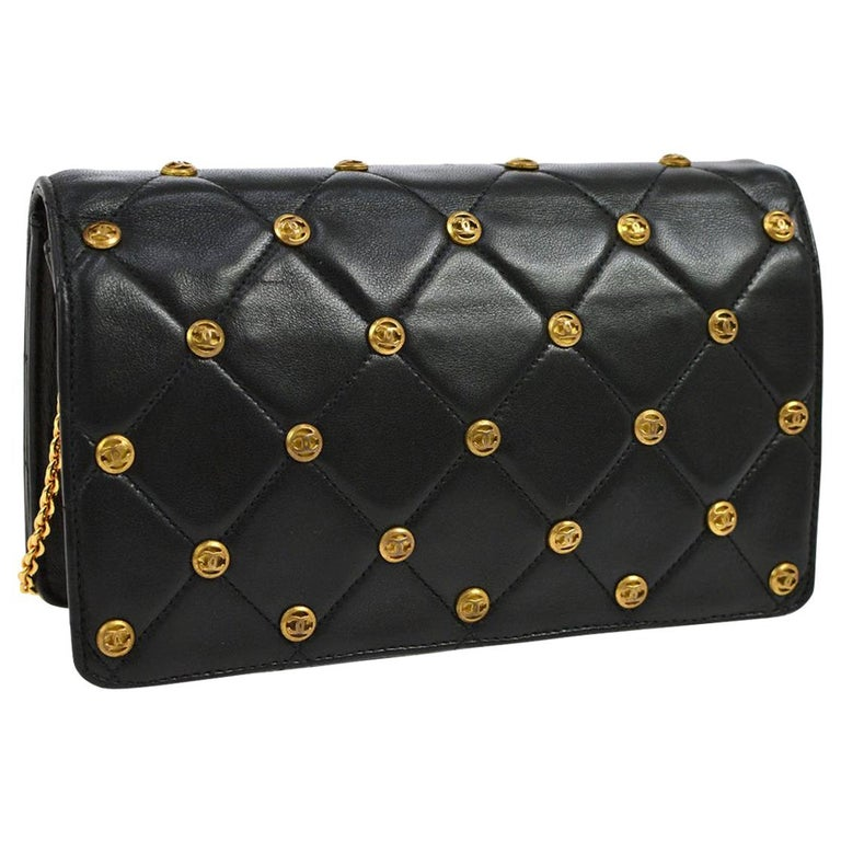 Chanel Black Leather Gold Logo Coin Clutch Evening Small Party Shoulder Flap Bag For Sale