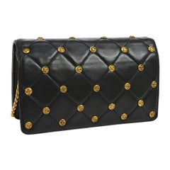 Chanel Black Leather Gold Logo Coin Clutch Evening Small Party Shoulder Flap Bag