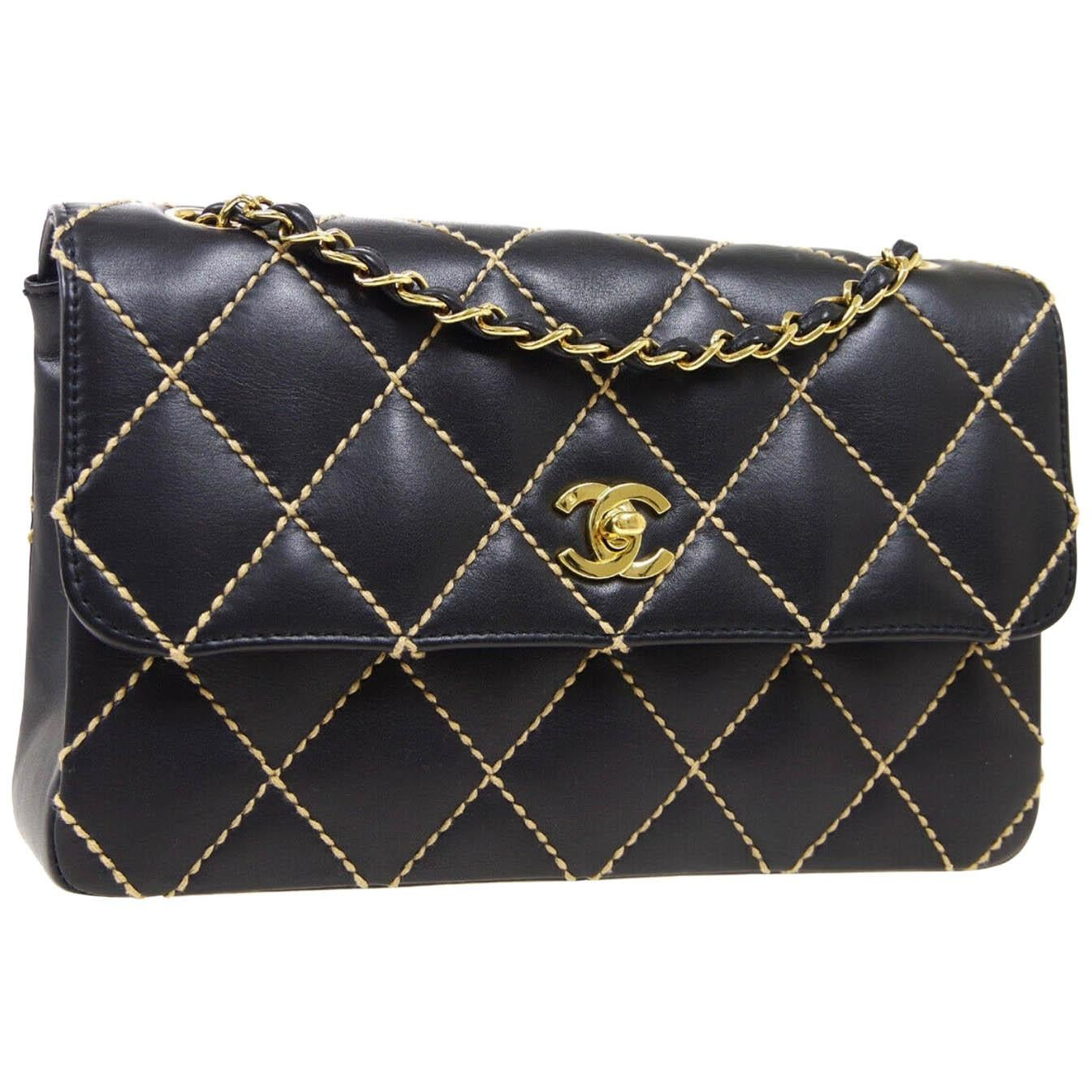 Chanel Black Leather Gold Medium Double Evening Shoulder Flap Bag