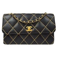 Chanel Black Leather Gold Medium Double Evening Shoulder Flap Bag