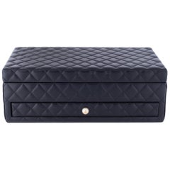 Chanel Black Leather Gold Pearl Women's Jewelry Drawer Vanity Storage Case Box