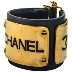 Chanel Black Leather /Gold Plate Bangle