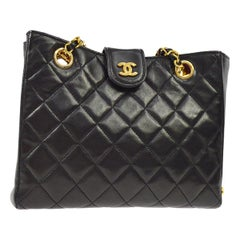 Chanel Black Leather Gold Small Carryall Shoulder Shopper Tote Bag