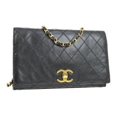 Chanel Black Leather Gold Small Evening Shoulder Crossbody WOC Flap Bag
