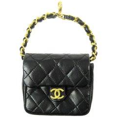 Chanel Black Leather Gold Small Mini Micro Pouch Pochette Waist Wristlet Bag