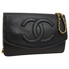 Chanel Black Leather Gold Small Wallet on Chain WOC Shoulder Flap Bag in Box