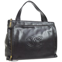 Chanel Black Leather Gold Top Handle Satchel Carryall Business Travel Tote Bag