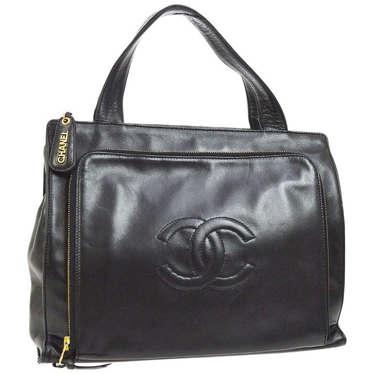 60af804b9 Chanel Black Leather Gold Top Handle Satchel Carryall Business Travel Tote  Bag For Sale