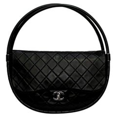 Chanel Black Leather Hula Hoop Shoulder Bag