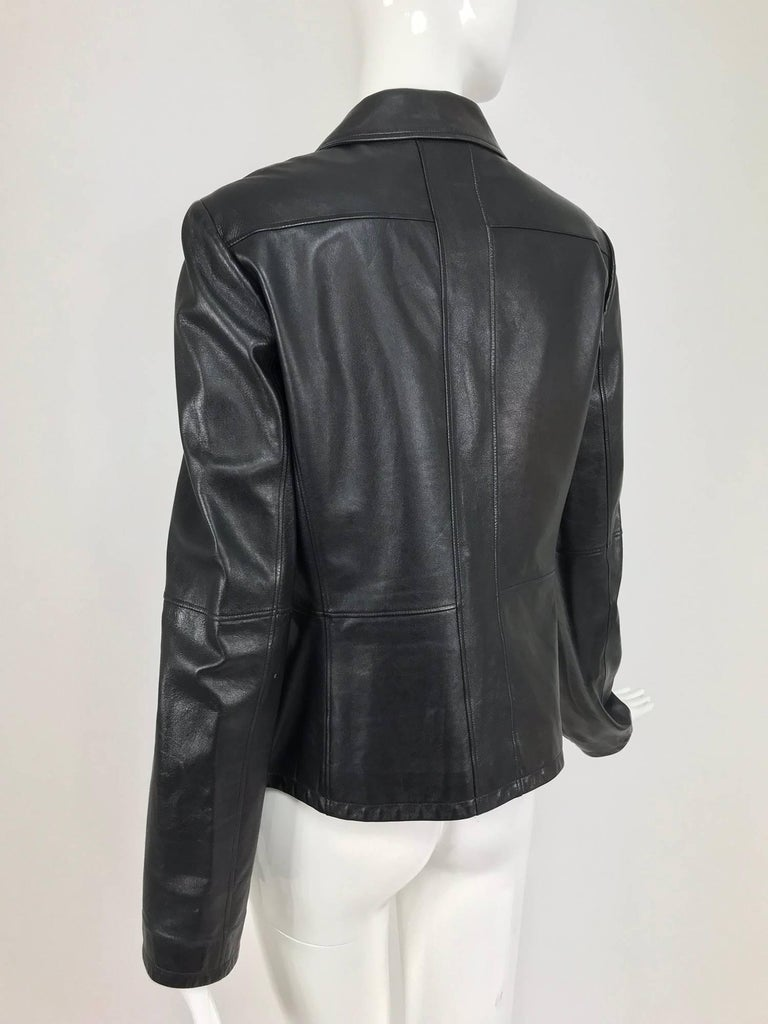 Chanel black leather jacket 2007A  40 For Sale 5