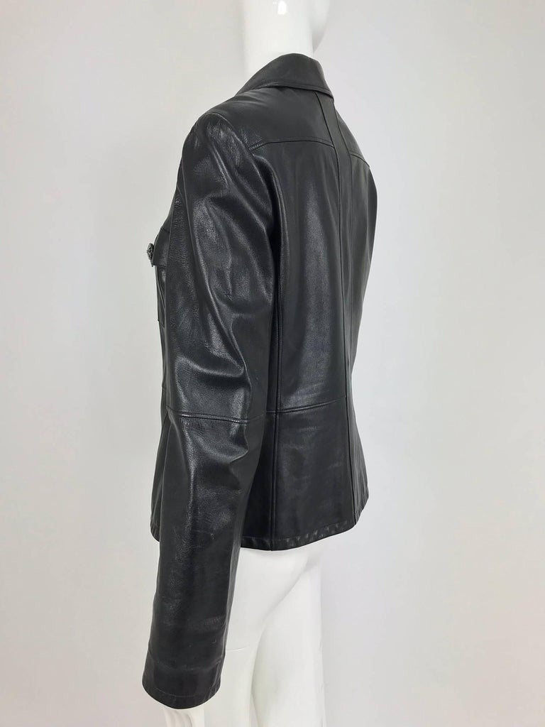 Chanel black leather jacket 2007A  40 For Sale 6