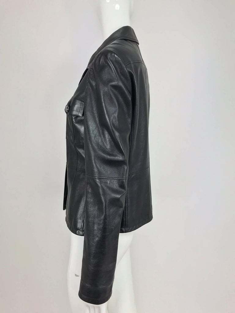 Chanel black leather jacket 2007A  40 For Sale 7