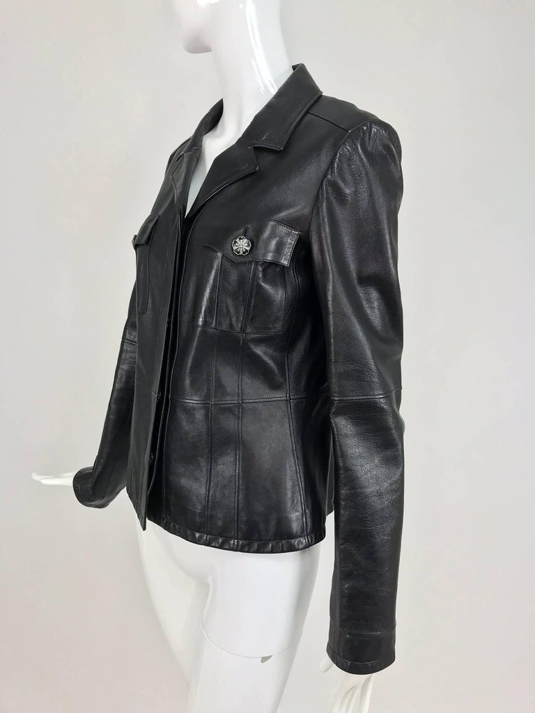 Chanel black leather jacket 2007A  40 For Sale 8