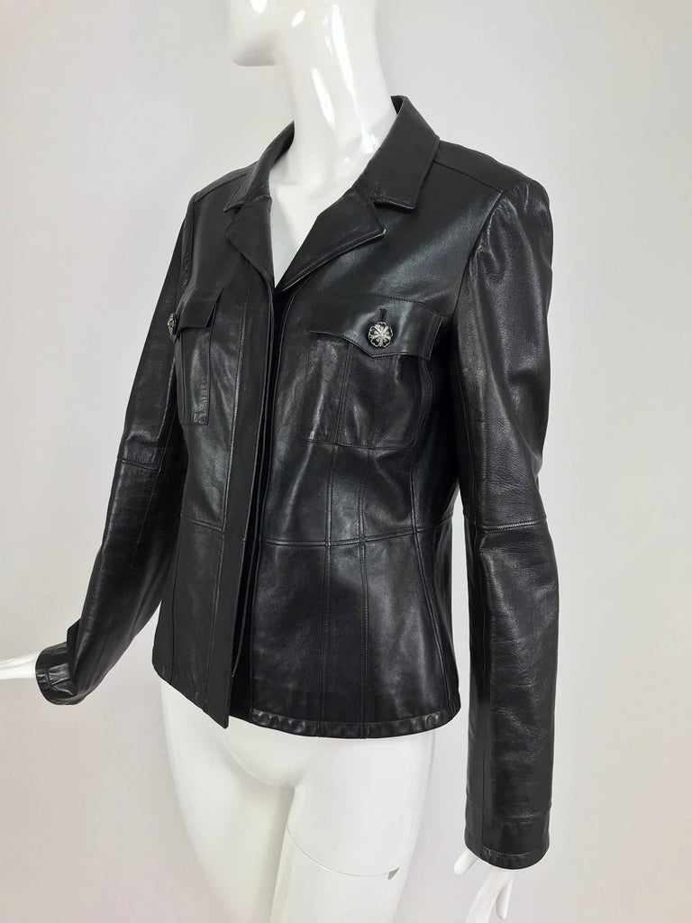 Chanel black leather jacket 2007A  40 For Sale 9