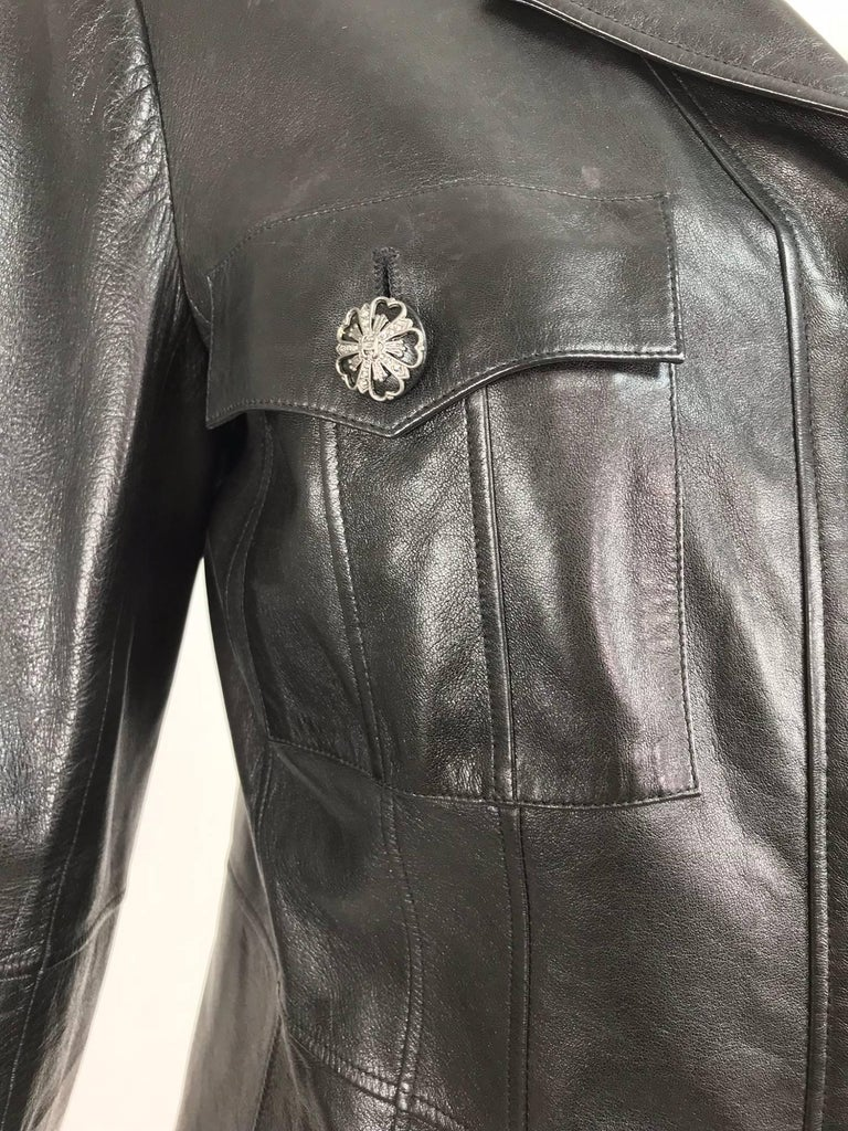 Chanel black leather jacket 2007A  40 For Sale 10
