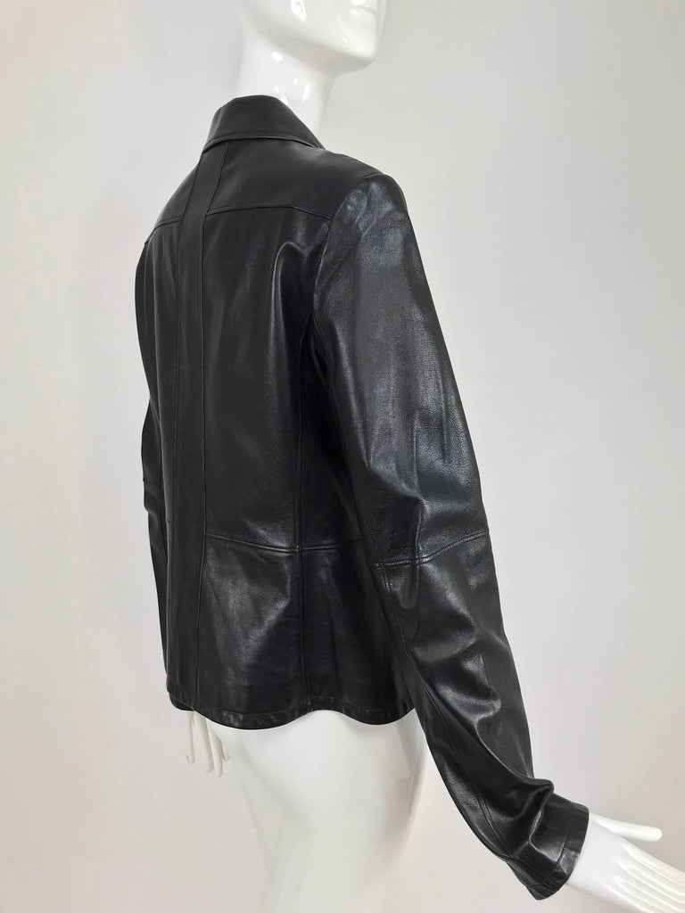Chanel black leather jacket 2007A  40 For Sale 1
