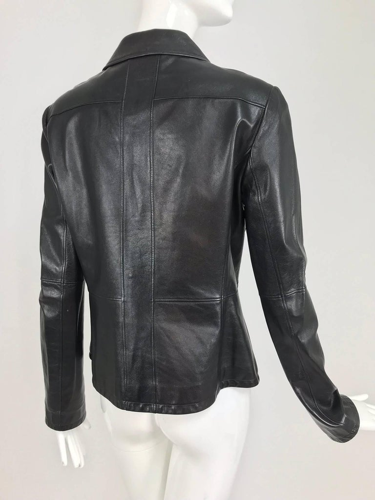 Chanel black leather jacket 2007A  40 For Sale 2