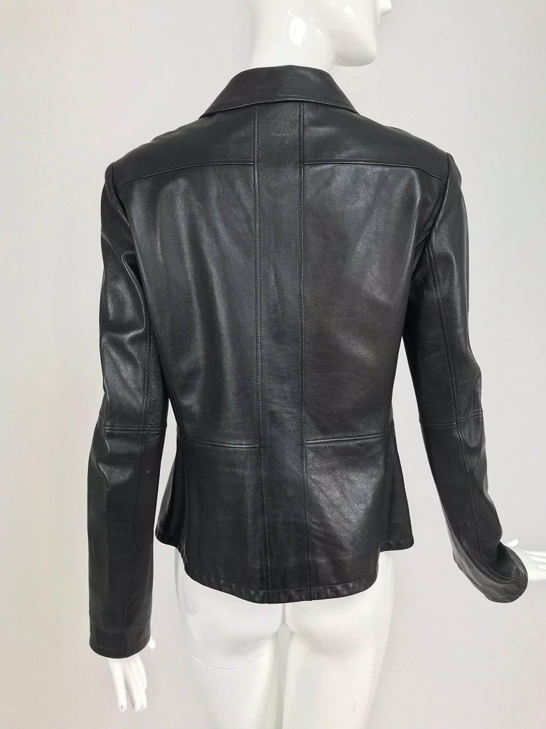 Chanel black leather jacket 2007A  40 For Sale 3