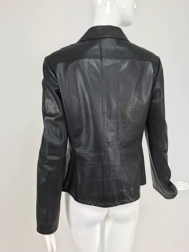 Chanel black leather jacket 2007A  40 For Sale 4
