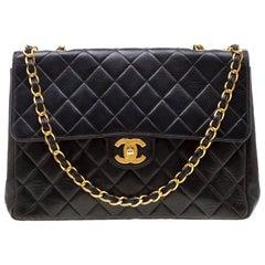 Chanel Black Leather Jumbo Classic Single Flap Bag