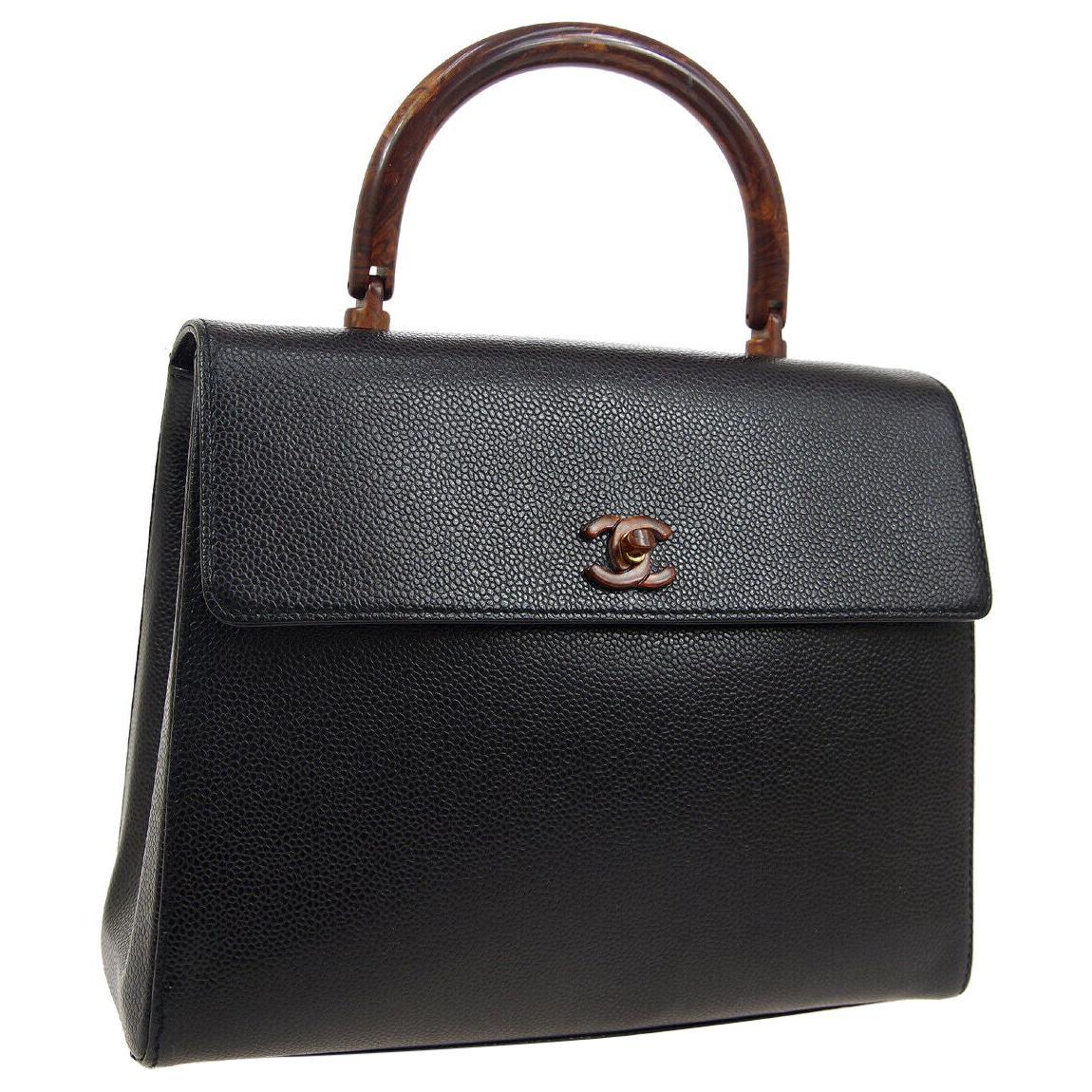 Chanel Black Leather Kelly Brown Tortoise Evening Top Handle Satchel Bag