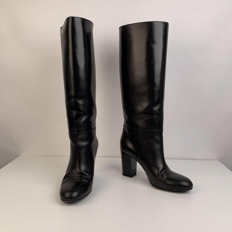 Women's Chanel Black Leather Knee High CC Logo Heeled Boots Size 39.5
