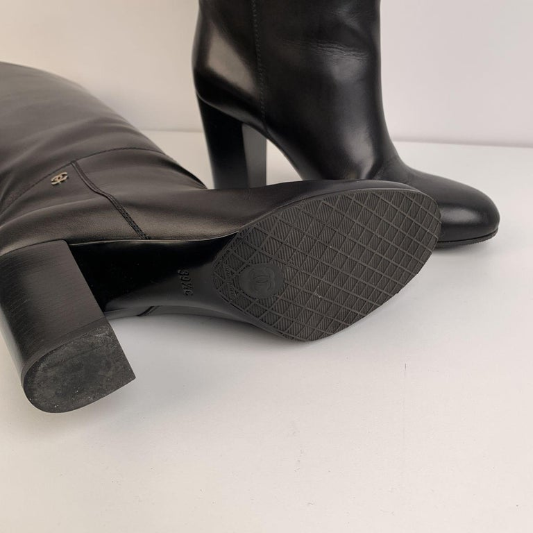 Chanel Black Leather Knee High CC Logo Heeled Boots Size 39.5 1