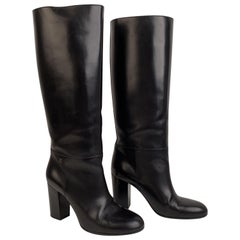 Chanel Black Leather Knee High CC Logo Heeled Boots Size 39.5