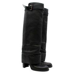 Chanel Black Leather Knee-High Sheath Boots XXS