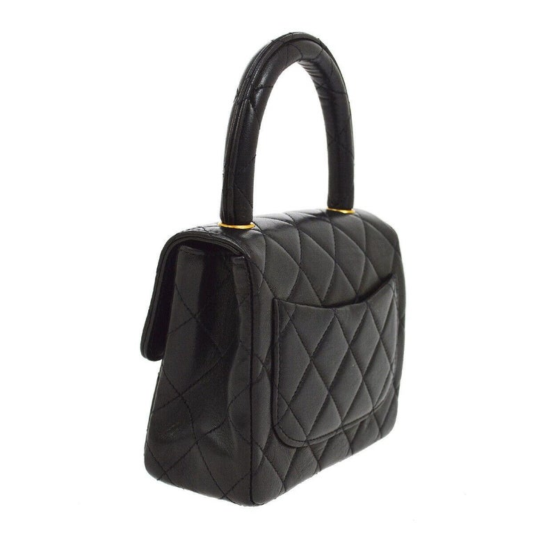 Women's Chanel Black Leather Lambskin Small Party Evening Top Handle Satchel Flap Bag