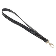 Chanel Black Leather Lanyard with Gold
