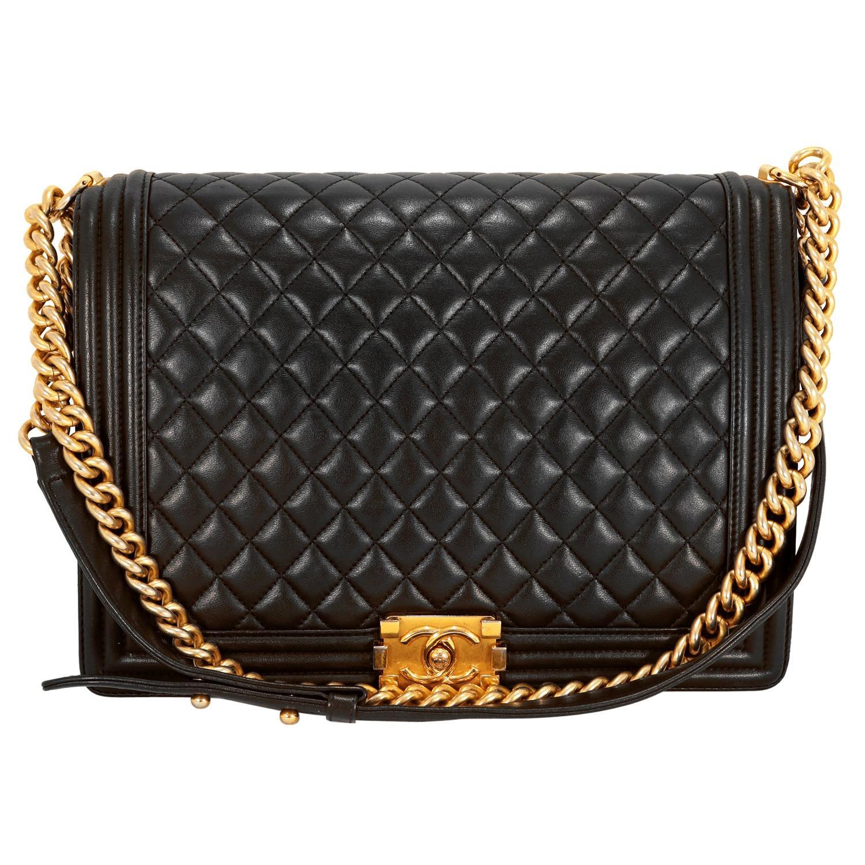 Chanel Black Leather Large Boy Bag