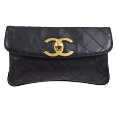 Chanel Black Leather Large Gold CC Charm Envelope Evening Clutch Flap Bag