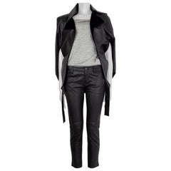 CHANEL black leather leather COSMOPOLITE Cape Jacket 36 XS