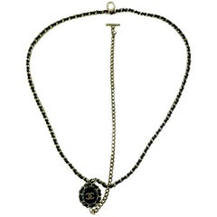 CHANEL Black Leather Long Necklace