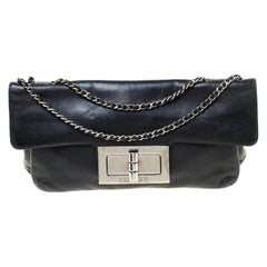 Chanel Black Leather Mademoiselle Turn Lock Flap Bag