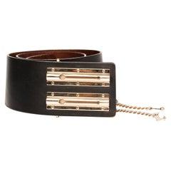 Chanel Black Leather Maxi Belt (size 90/36)