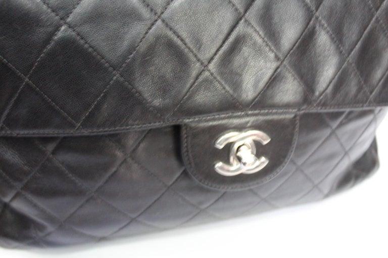 Women's Chanel Black Leather Maxi Jumbo Bag For Sale