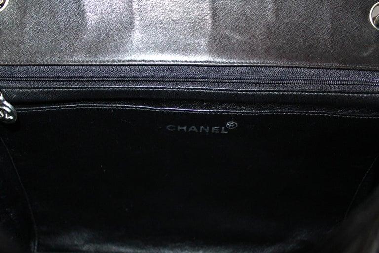 Chanel Black Leather Maxi Jumbo Bag For Sale 2