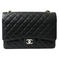 Chanel Black Leather Maxi Jumbo Bag