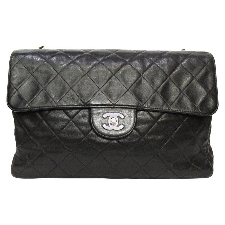 Chanel Black Leather Maxi Jumbo Bag For Sale