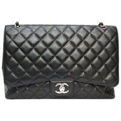 Chanel Black Leather Maxi Jumbo Double-Flap Bag