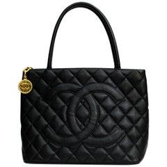 Chanel Black Leather Medallion Bag
