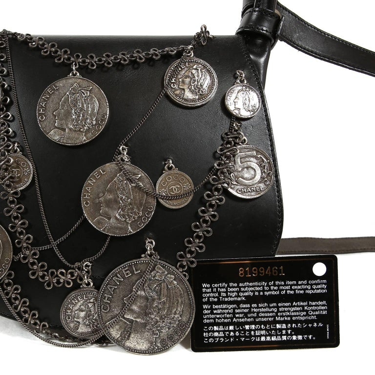 65a431a66dee Chanel Black Leather Medallion Coins Saddle Bag- Runway For Sale at ...
