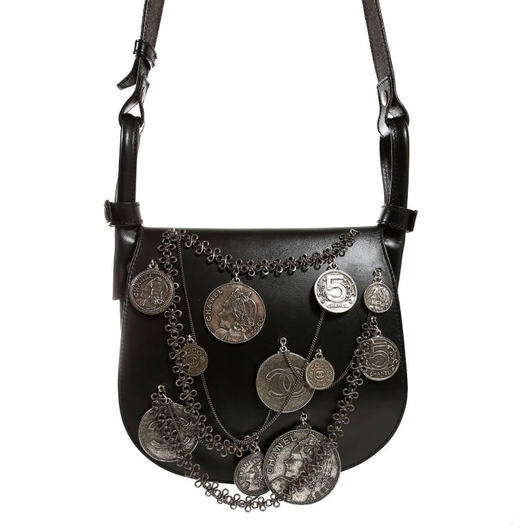 Chanel Black Leather Medallion Coins Saddle Bag- Runway