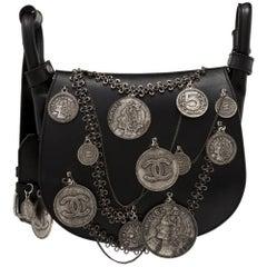 Chanel Black Leather Medallion Coins Saddle Bag
