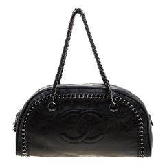 Chanel Black Leather Medium Chain Trim Luxe Ligne Bowler Bag