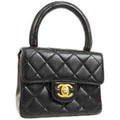 Chanel Black Leather Mini Kelly Small Party Evening Top Handle Satchel Flap Bag