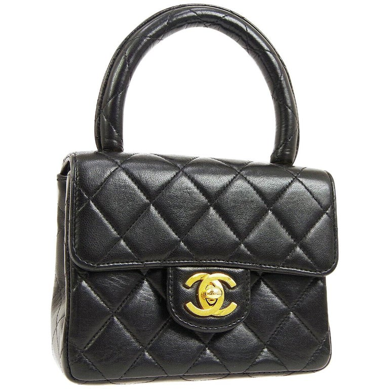bf661df42367af Chanel Black Leather Mini Kelly Small Party Evening Top Handle Satchel Flap  Bag For Sale