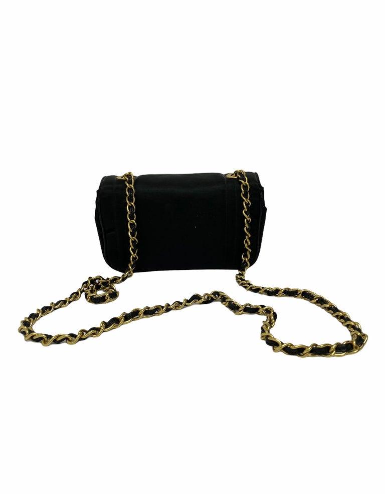 Chanel Black Leather Mini Vintage Bag For Sale 2